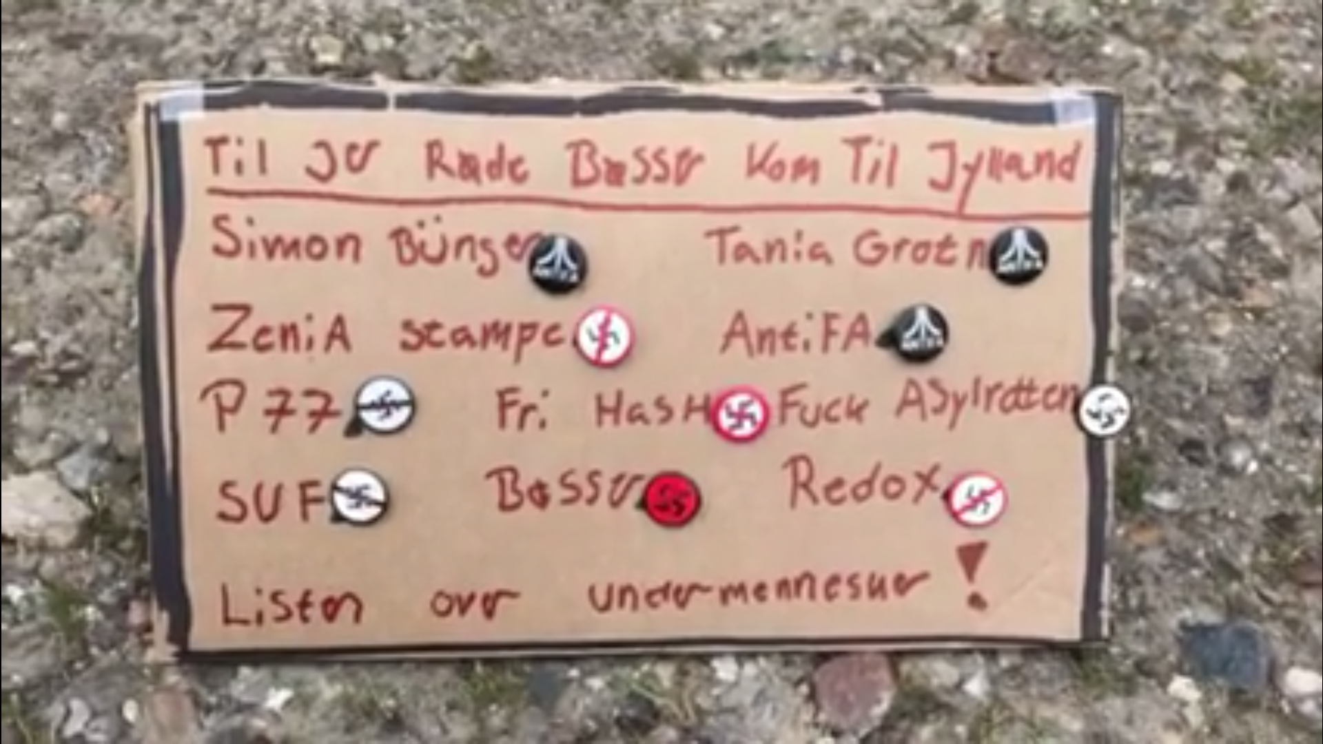 På listen er Zenia Stampe nævnt side om side med blandt andre Redox, ungdomsorganisationen Socialistisk Ungdomsfront (SUF) og internetbloggen P77. (Foto: Screenshot fra video)