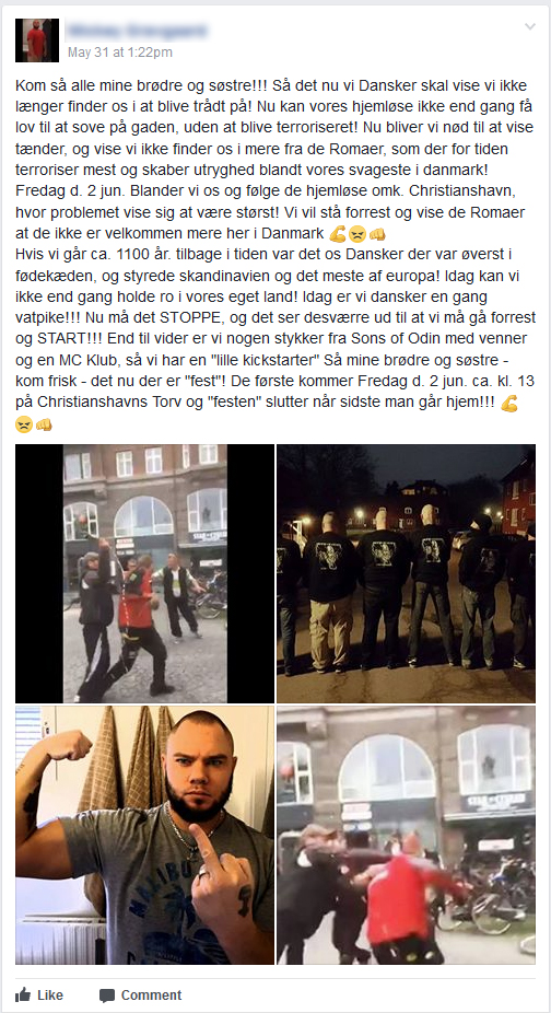 Opslaget i Sons of Odins facebookgruppe. (Screenshot fra Facebook)