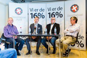 Den 13. august 2016 havde Danskernes Parti indkaldt til pressemøde i Den Sorte Diamant i København, ved mødet fremlagde Daniel Carlsen sammen med resten af ledelsen resultatet af en meningsmåling partiet havde fået udført. (Foto: Redox)