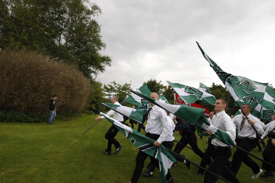 Længe før NMR fik en dansk aflægger var organisationen i Danmark. I 2007 deltog den svenske organisation nemlig i Hess-marchen i Kolding. Foto: Redox.