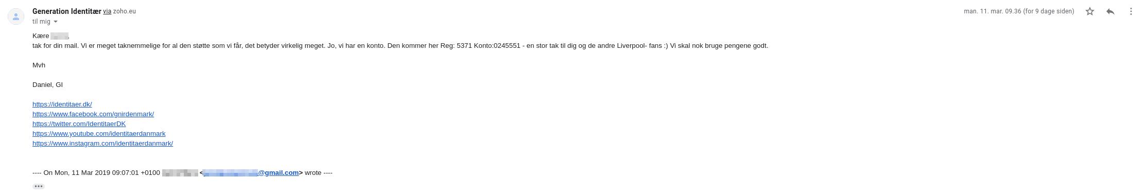 Email fra Generation Identitær, hvor Daniel bekræfter deres kontonummer.