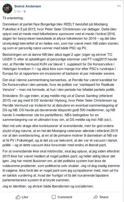 Svend Flemming Andersens Facebook-opslag fra den 5. marts 208. Screenshot.