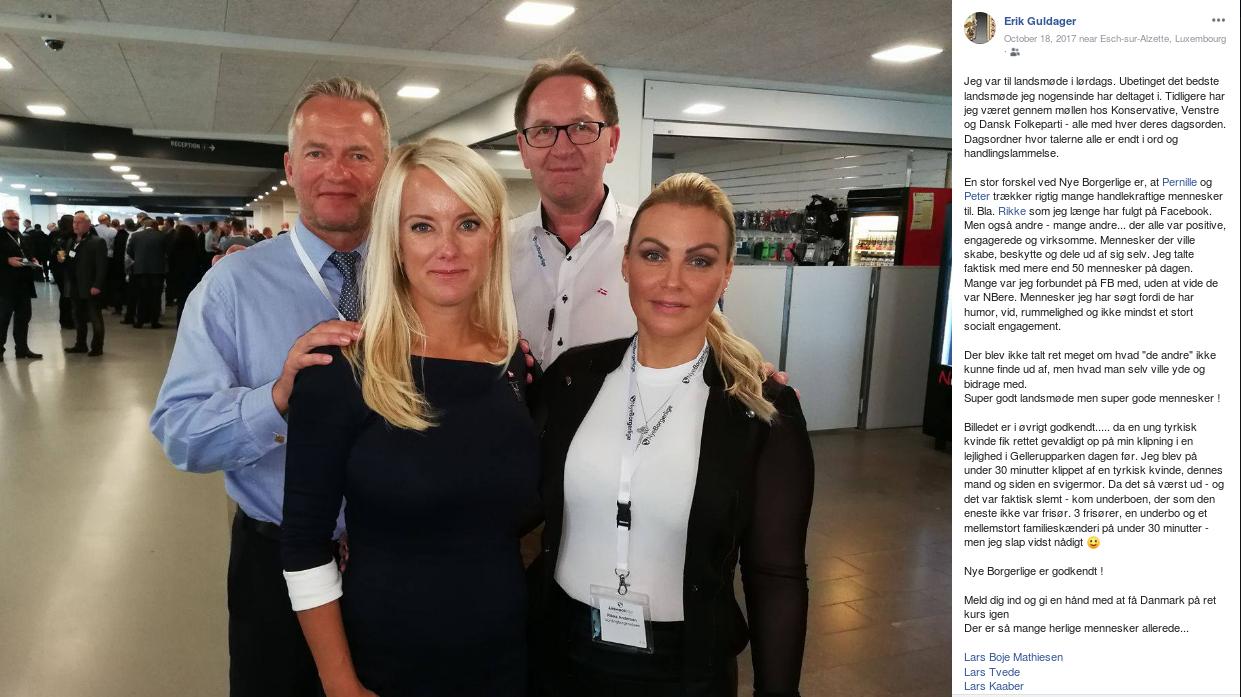 Efter Nye Borgerliges Årsmøde i 2017 slog Erik Guldager dette billede fra mødet op på Facebook. Fra venstre ses Lars Tvede, Pernille Vermund, Erik Guldager og Rikke Louise Andersen. Screenshot.