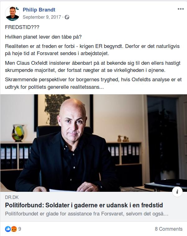 Philip Brandts Facebook opslag fra den 9. september 2017. Screenshot.