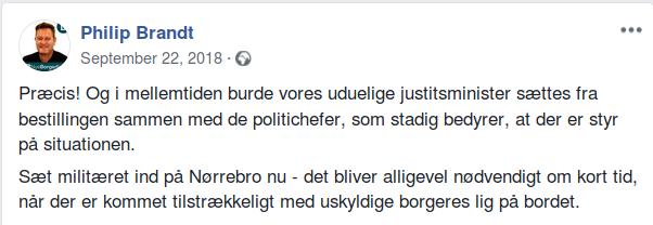 Således skrev folketingskandidaten den 22. september 2018, da han delte et af Nye Borgerliges Facebook opslag. Screenshot.