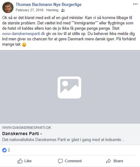 Den 27. februar 2016 slog NBs folketingskandidat følgende op på Facebook. Screen.
