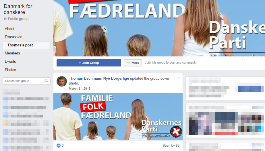 Den 31. marts 2016 ændrede Thomas Bachmann Facebookgruppens coverbillede til propaganda fra Danskernes Parti. Screenshot.