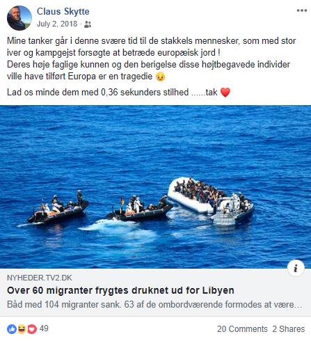 Her ses Claus Skyttes Facebook opslag fra den 2. juni 2018. Screenshot.