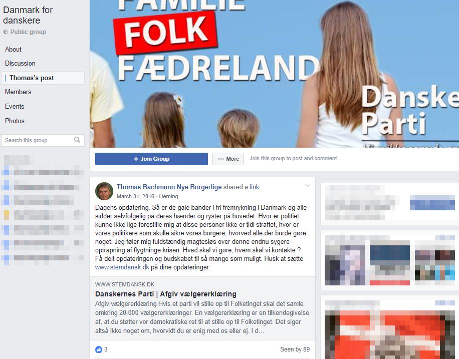 """Den 31. marts opfordrede Thomas Bachmann medlemmerne af Facebookgruppen """"Danmark for danskere"""" til at støtte Danskernes Parti med en vælgererklæring. Screenshot."""