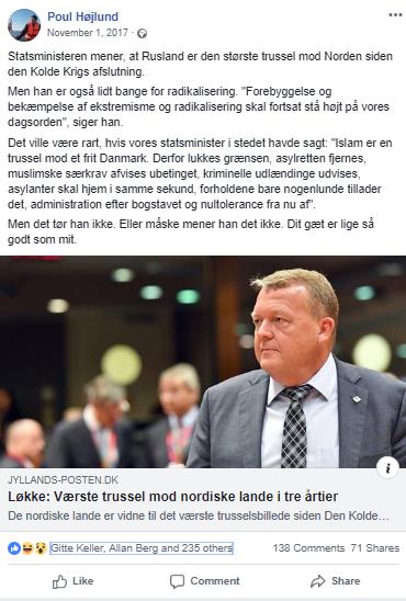 Poul Højlunds Facebook opslag fra den 1. november 2017. Screenshot.