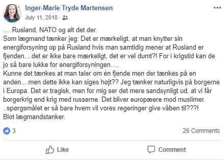 Her ses Inger Marie Tryde Martensen opslag fra den 11. juli 2018. Screenshot.