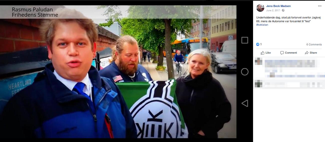 Jens Beck Madsen opdaterede få dage efter demonstrationen sin Facebook profil med et billede, hvor hans ses holde sit KEKistan-flag. Screenshot.