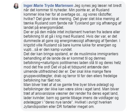 Her ses Inger-Marie Tryde Martensens uddybende kommentar fra juli 2018. Screenshot.