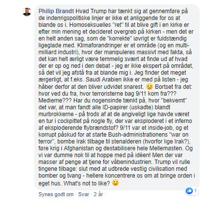 "Philip Brandt argumenterede i kommentar til hans eget opslag for at angrebet på World Trade Center den 11. september 2001, var et ""inside-job"". Screenshot."
