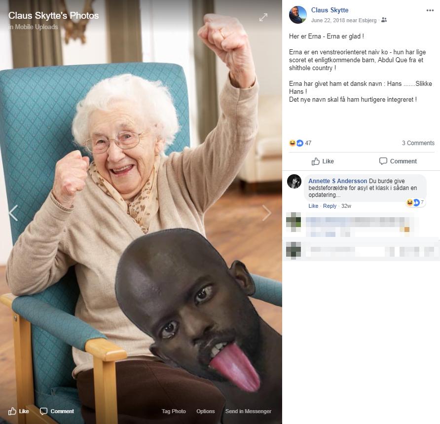 NB-kandidatens spydige kommentar til Claus Skyttes Facebook opslag ses her. Screenshot.