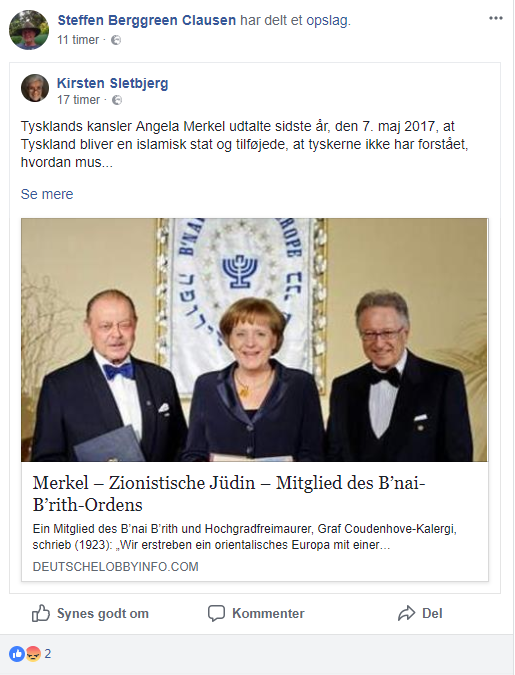Steffen Berggren Clausen delte det antisemitiske opslag på Facebook den 29. april 2018. Screenshot.