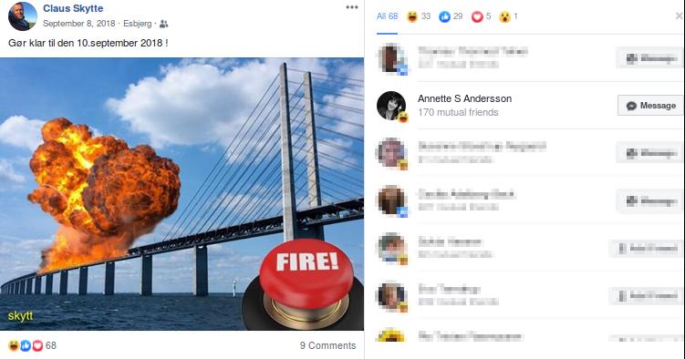 Her ses Claus Skyttes Facebook opdatering om Øresundsbroen til venstre og til højre Annette Skov Anderssons like. Collage.