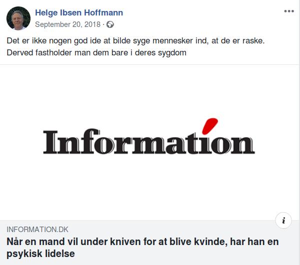 I september 2018 gør Helge Ibsen Hoffmann sin holdning til transpersoner tydelig. Screenshot.