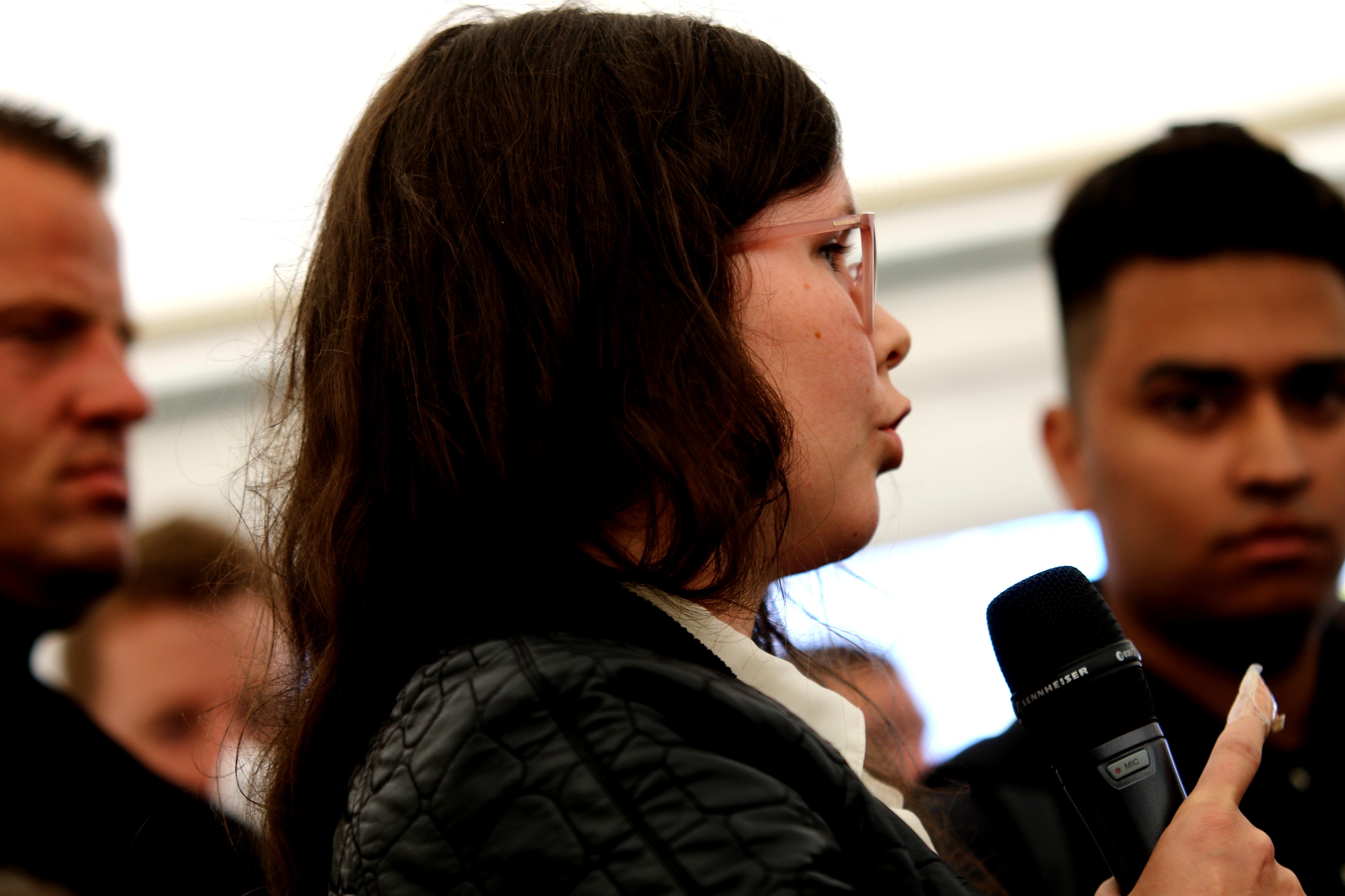 Ninna Martina Moeskær ses her under Danskernes Partis åbne debatmøde på Folkemødet i 2016. Foto: Redox.