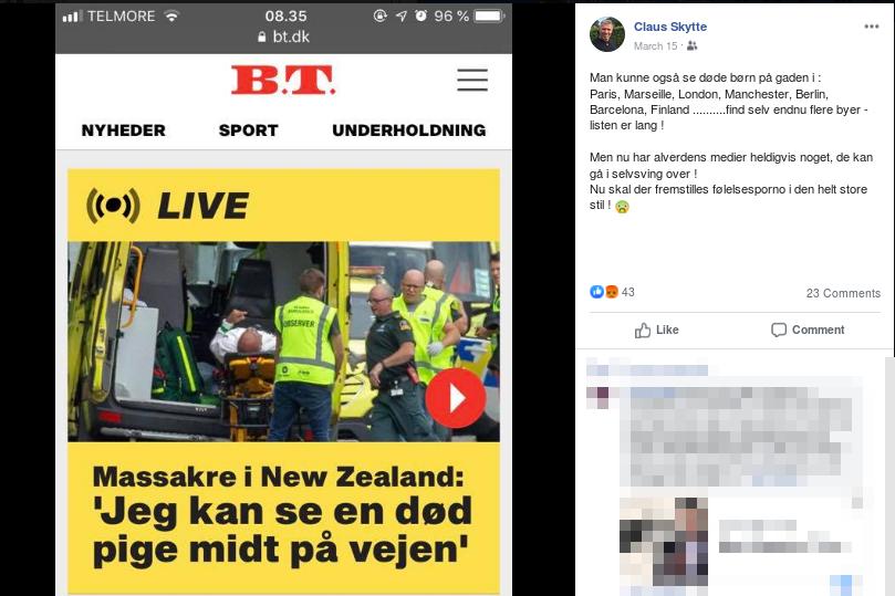 Claus Skyttes anden kommentar til terrorangrebet i Christchurch, New Zealand, den 15. marts 2019, hvor mere end 50 muslimer blev skudt ned og dræbt af en højreradikal terrorist. Screenshot.