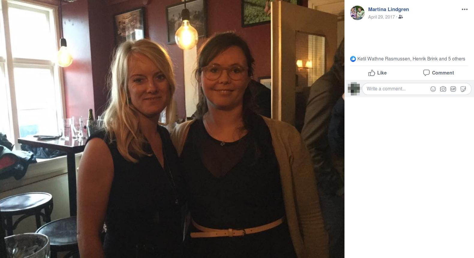 I forbindelse med et internt arrangement i Nye Borgerlige får Pernille Vermund og Ninna Martina Moeskær taget et billede sammen, som Moeskær efterfølgende ligger på Facebook. Screenshot.