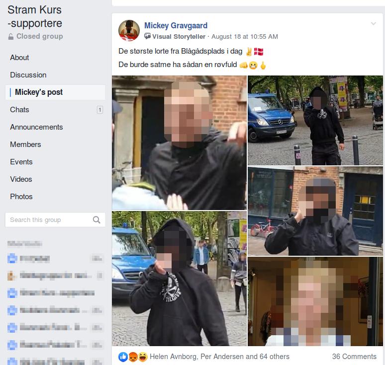 """Mickey Gravgaards opslag i Facebookgruppen """"Stram Kurs-supportere"""" er efter Redox' henvendelse til Rasmus Paludan og Mickey Gravgaard blevet slettet."""