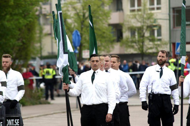 Jacob Vullum Andersen ses her midtfor, ved NMRs demonstration i den svenske by Kungälv i år. Foto: Redox.