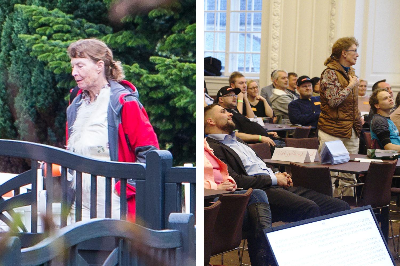 Vivian var blandt deltagerne ved Danskernes Partis landsmøde i Sønderjylland i 2016 (tv). På billedet til højre ses hun under Stram Kurs' rigskongres på Christiansborg i november 2019.