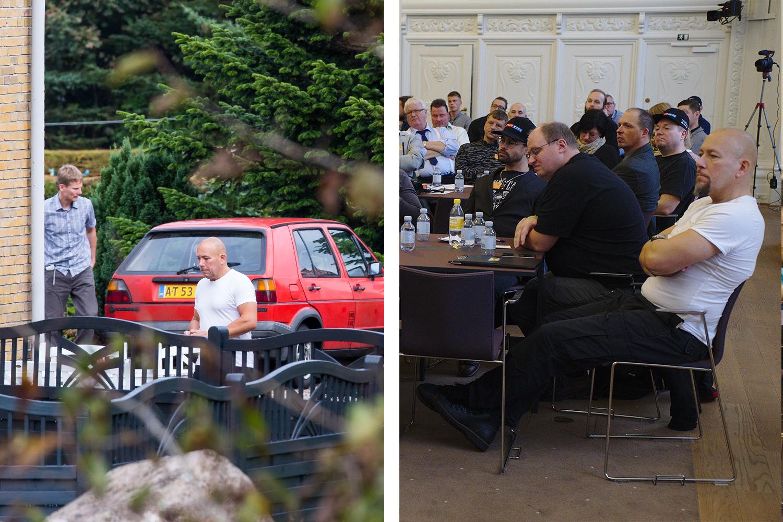 Lars Martin Erichsen var kerneaktivist i Danskernes Parti og deltog blandt andet i partiets landsmøde i Sønderjylland i 2016 (tv). Til højre ses han i hvid t-shirt under Stram Kurs' rigskongres.