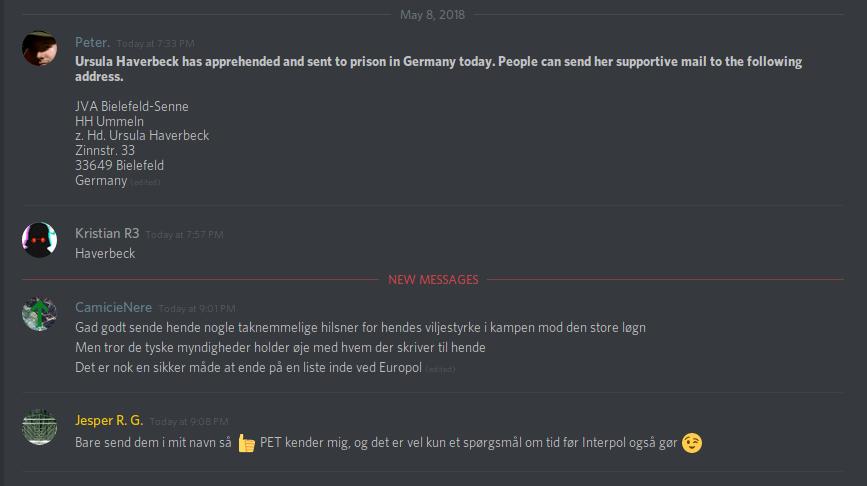 Jesper Rosendahl Gregersen lagde ikke skjul på, at han var i myndighedernes søgelys. Screenshot fra Discord.