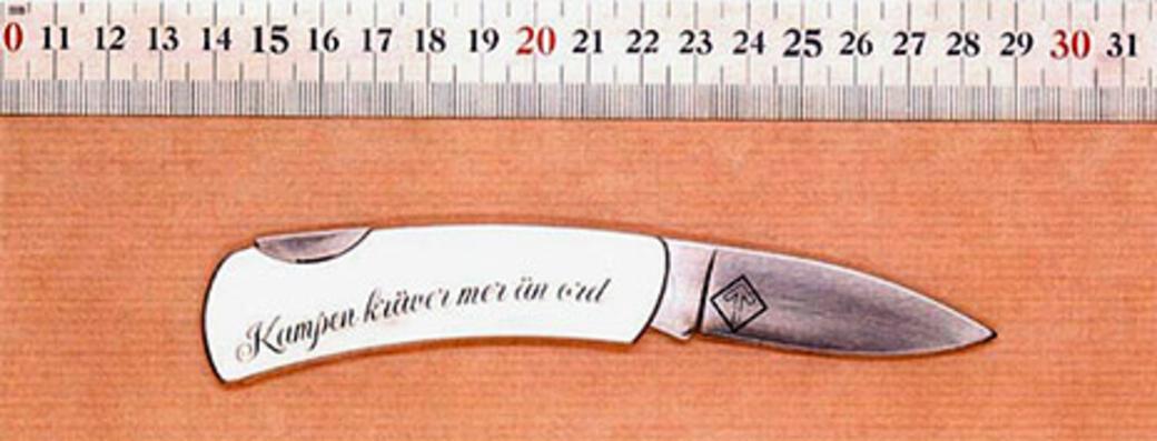 NMR's egenproducerede kniv med logo. Foto: Svensk politi.
