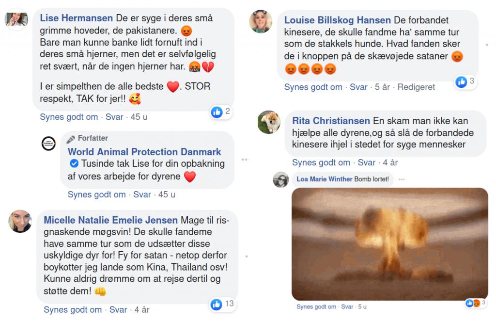 Et lille udsnit af de mange racistiske kommentarer på danske dyrerettighedsorganisationers facebooksider.