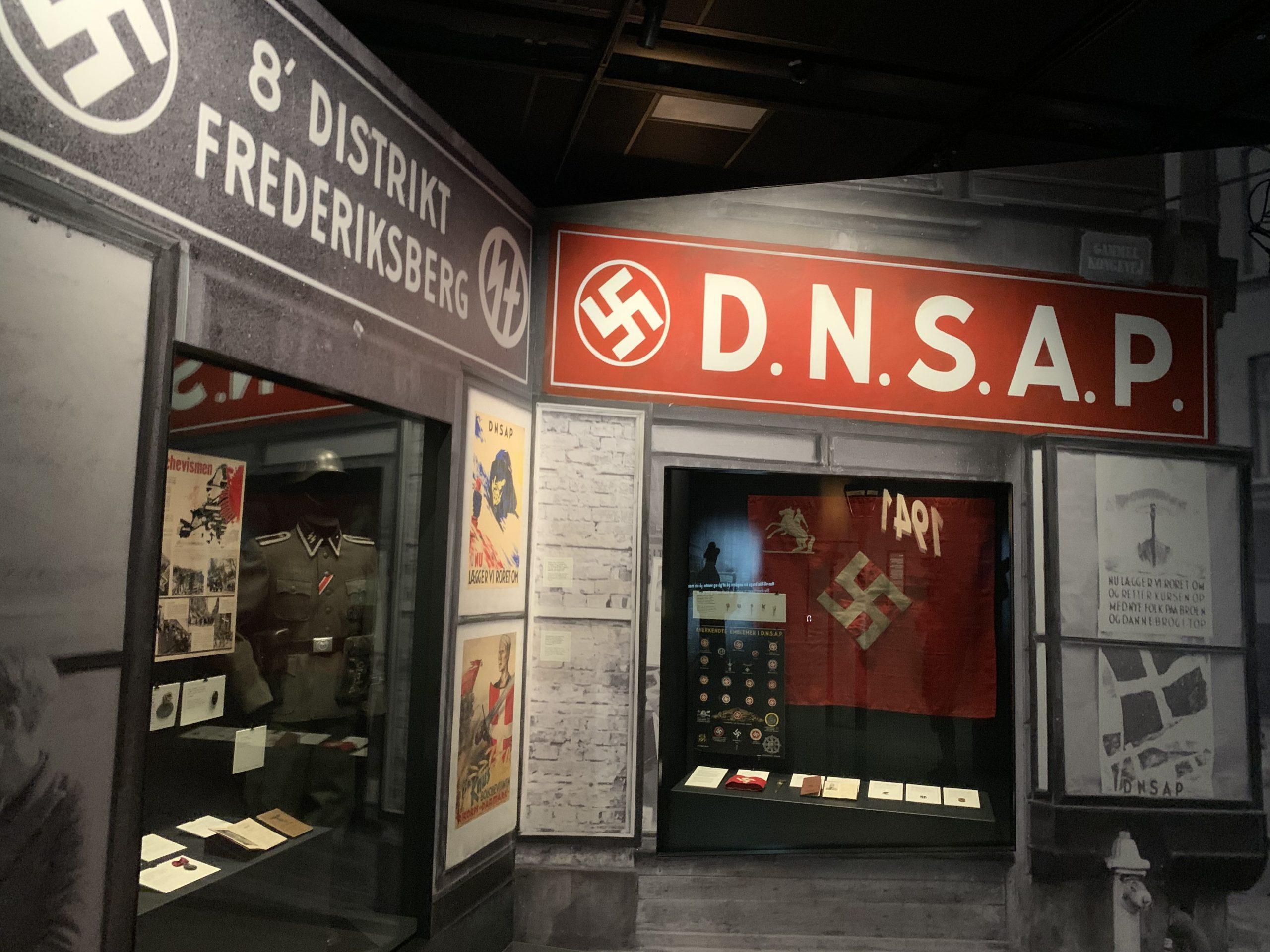 Udstillingen fortæller også om det danske naziparti DNSAP. Foto: Redox