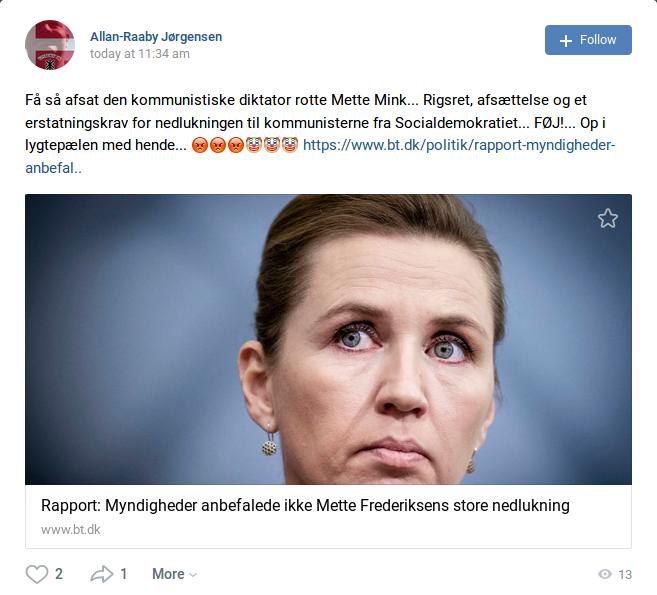 Fredag kl. 11.34 postede Allan Raaby Jørgensen ovenstående opslag på det sociale medie VK. Foto: Screenshot.
