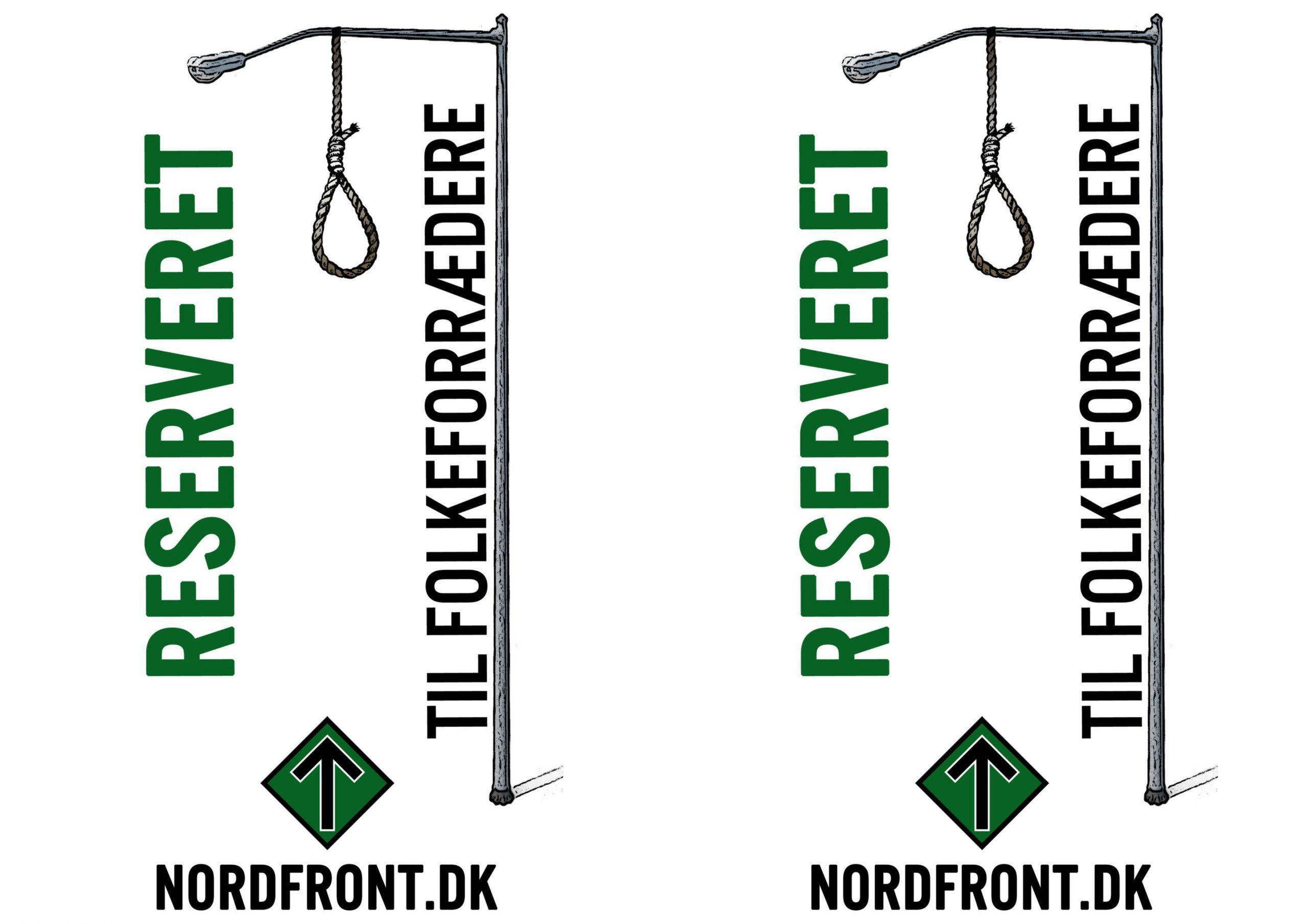 """Den Nordiske Modstandsbevægelse ligger i deres propaganda ikke skjul på deres ønske om at hænge """"folkeforrædere"""" i lygtepæle. Organisationen bruger ofte begrebet som skældsord om netop politikere. Foto: Den Nordiske Modstandsbevægelse."""