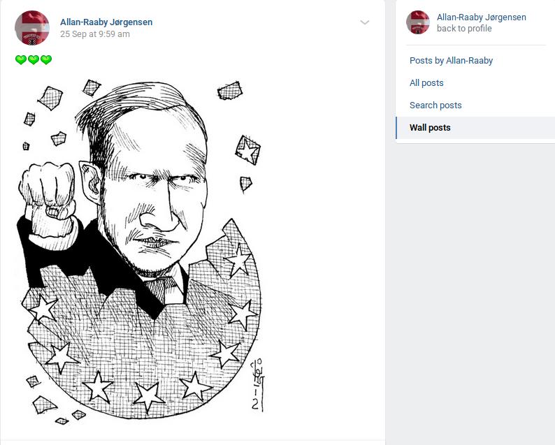 Den 25. september 2020 delte Allan Raaby Jørgensen denne tegning af Anders Bering Breivik med tre grønne hjerter som kommentar. Foto: Screenshot.
