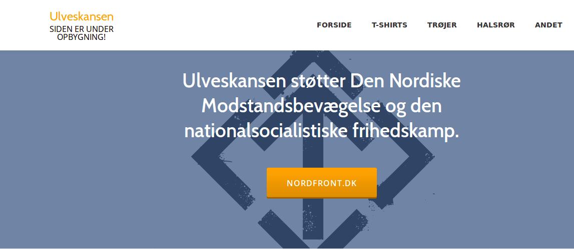 På Ulveskanskens hjemmeside fremstod deres tilknytning til Den Nordiske Modstandsbevægelse tydeligt. Foto: Screenshot.