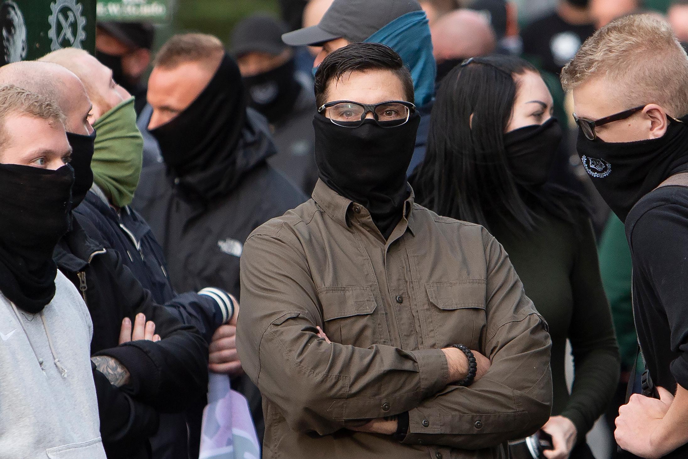 Få dage inden retssagen begyndte deltog Jacob Vullum Andersen sammen med nazister fra resten af Skandinavien i en demonstration i Berlin afholdt af det tyske naziparti Der Dritte Weg. Foto: Redox.
