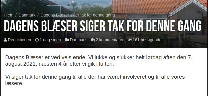 Dagens Blæser annoncerede lukningen i en kort artikel på websitet tirsdag. Screenshot.
