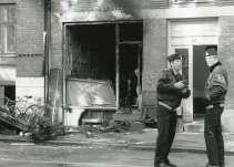 International Socialisters lokale efter bombesprængningen 16. marts 1992.